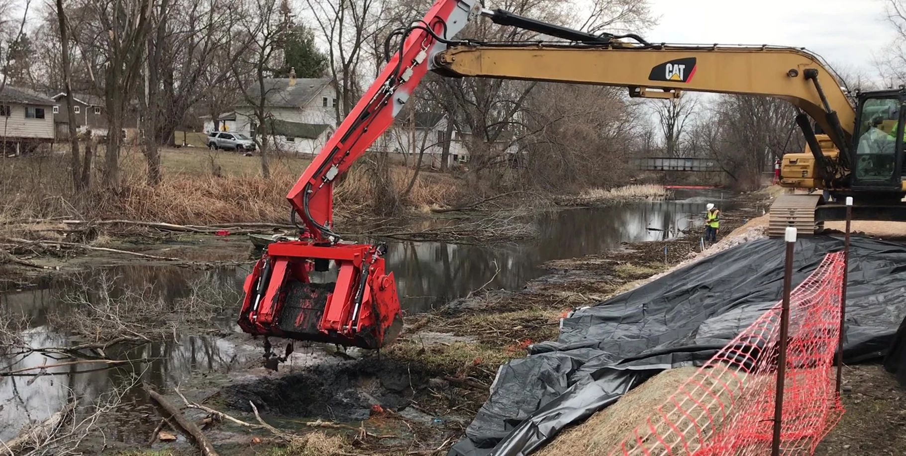 An image of dredging at the Portage Canal in March 2021.