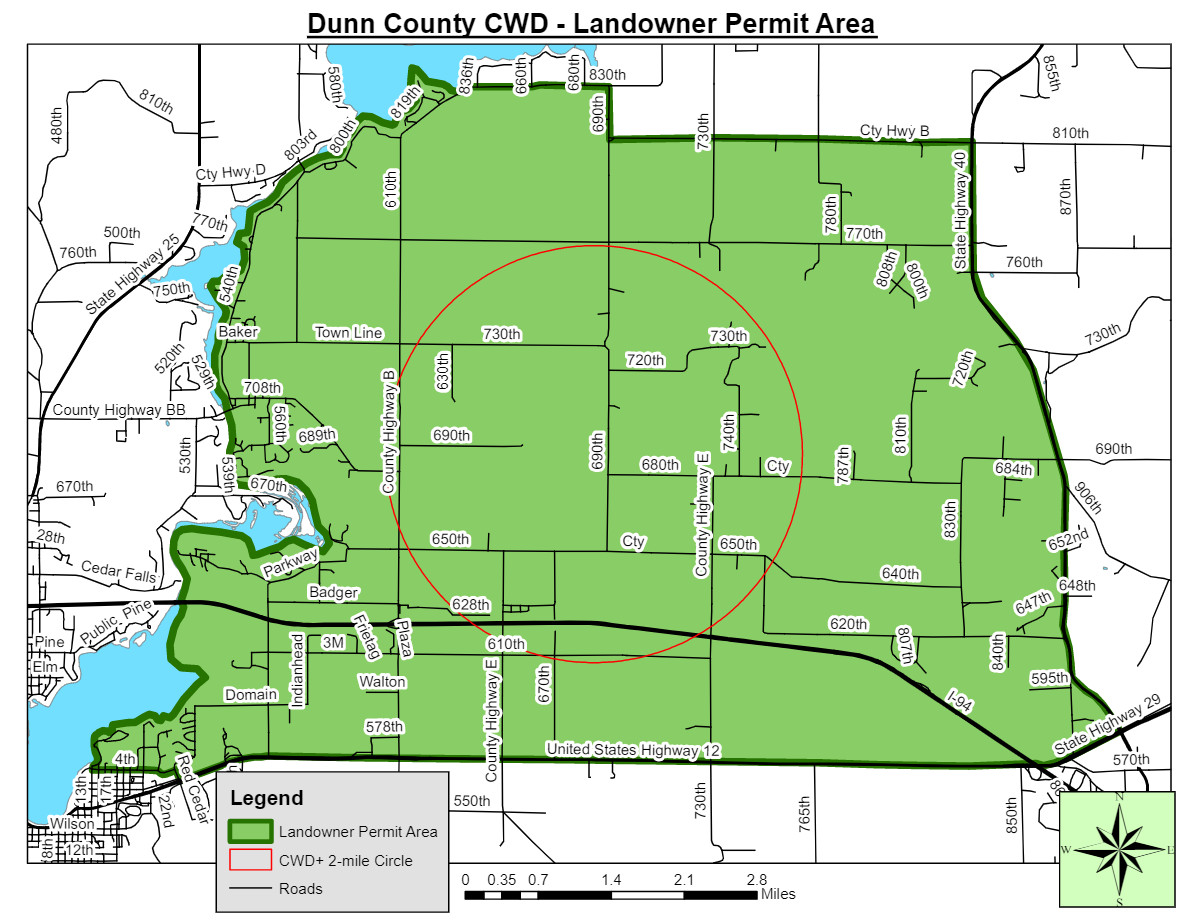 A map of Dunn County.