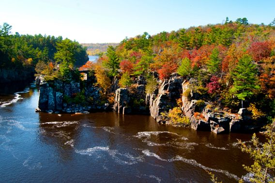 Autumn colors on the St Croix River bordering Minnesota and Wisconsin.