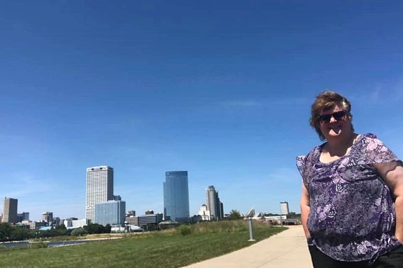 woman standing on Milwaukee lakeshore