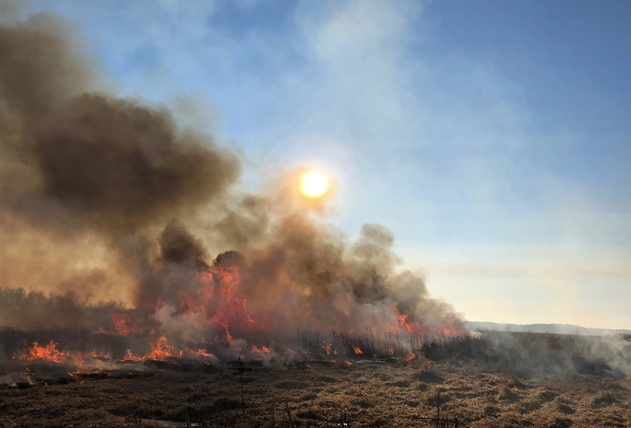 The sun sets behind smoke during a prescribed burn.