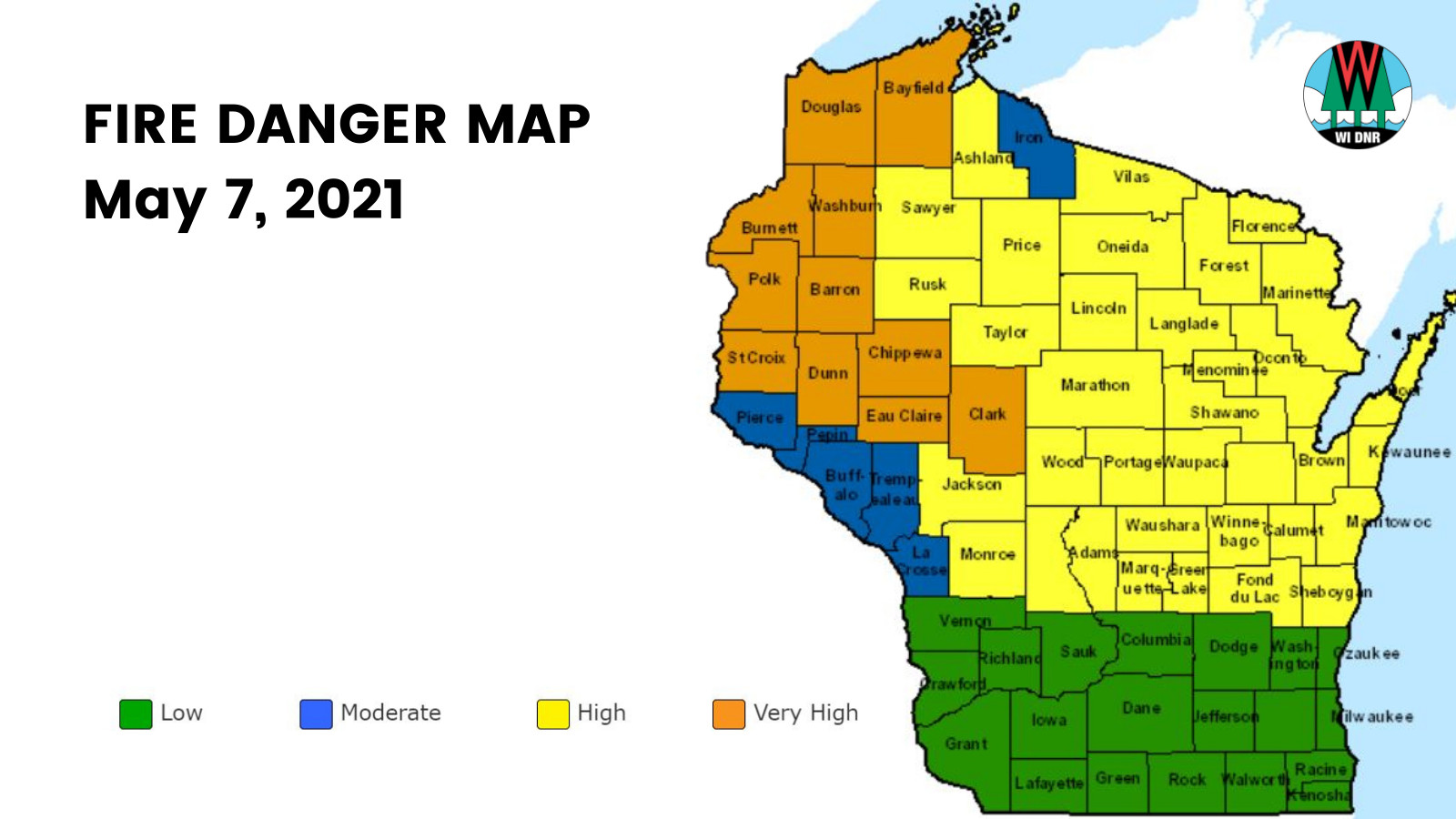 map of fire danger in Wisconsin for May 7
