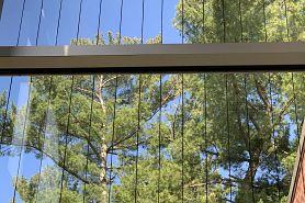 windows with bird savers at Woodson Art Museum