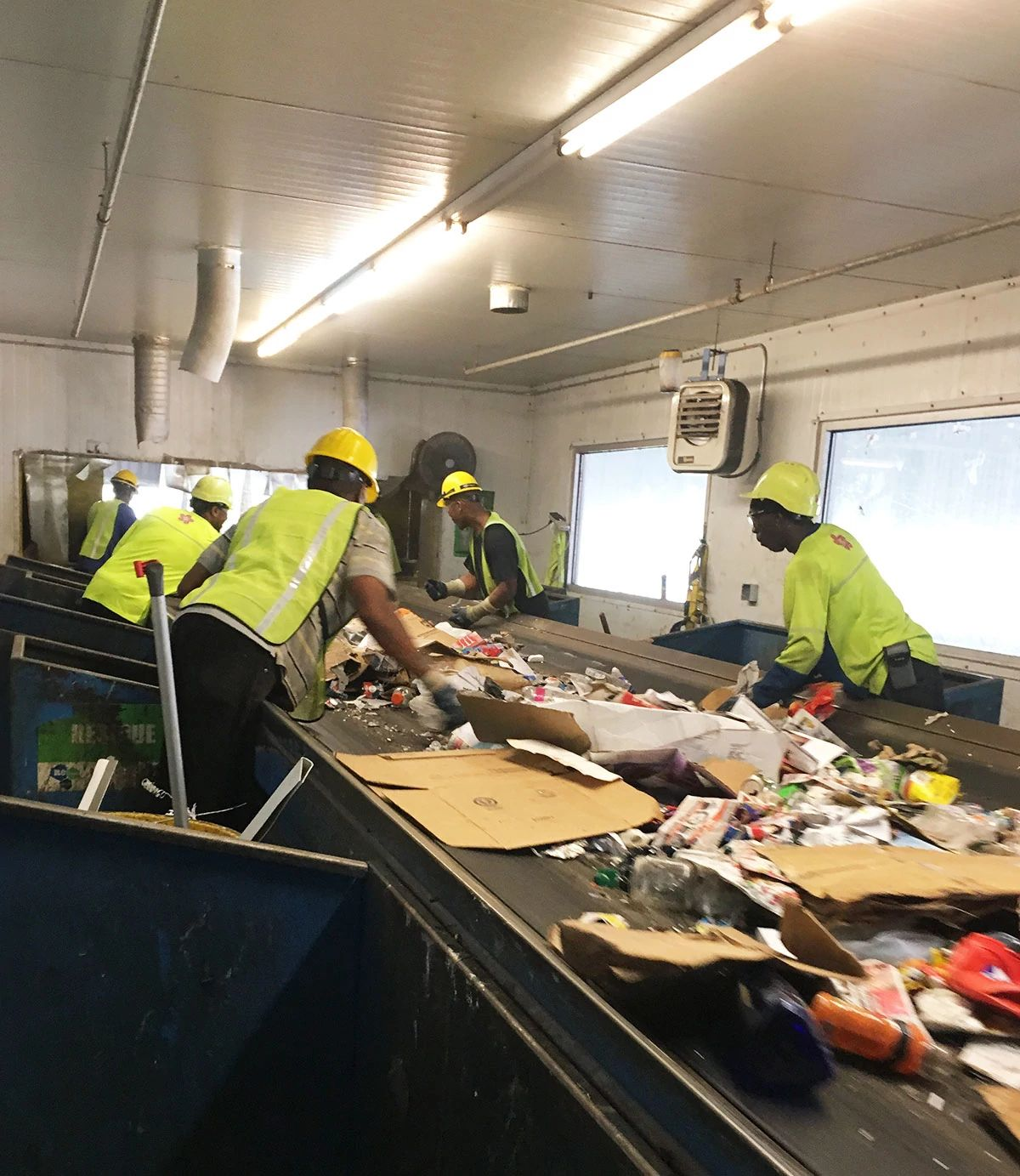A recycling sorting line