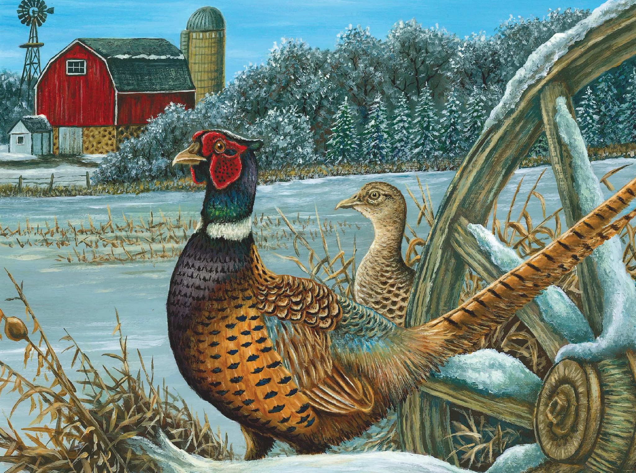 A painting of two pheasants in a field.