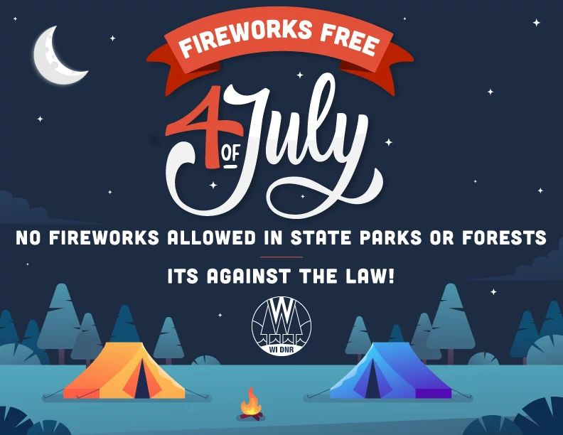A graphic reminding people that fireworks are prohibited on DNR-managed parks and forests.