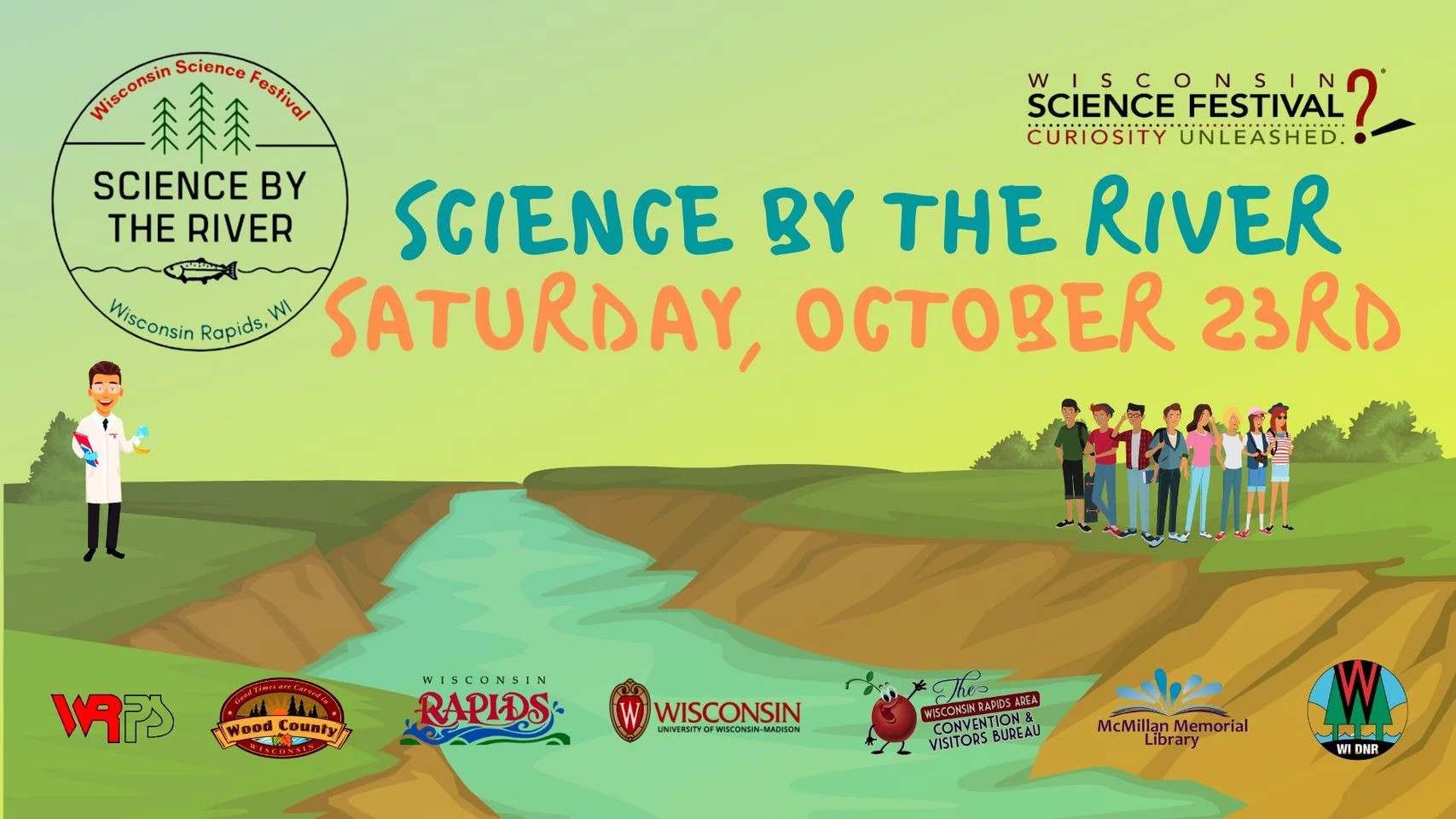 Science By The River event logo featuring landscape and river illustration with scientist and high school students
