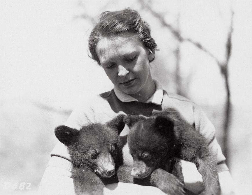 historic photo of Dorothy Ferguson holding two bear cubs