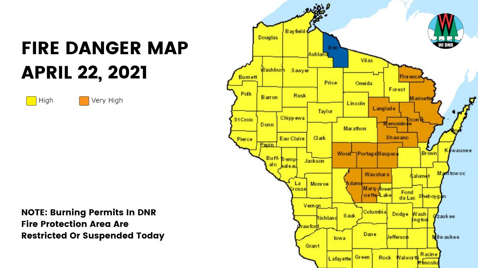 map of fire danger in Wisconsin