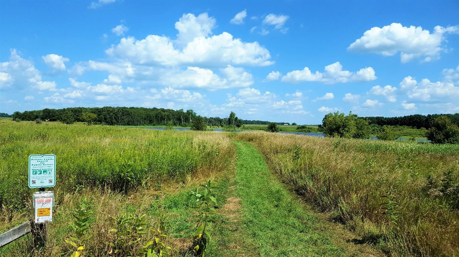 A view of public access land with a path through grass, leading to water.