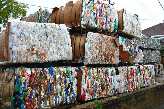large bales of recyclable materials