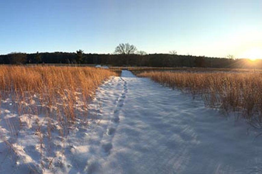 snow-covered prairie at MacKenzie Cebnter