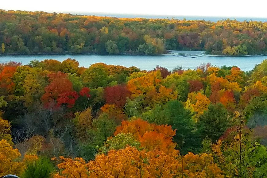 Fall colors in Door County overlooking the water in Peninsula State Park