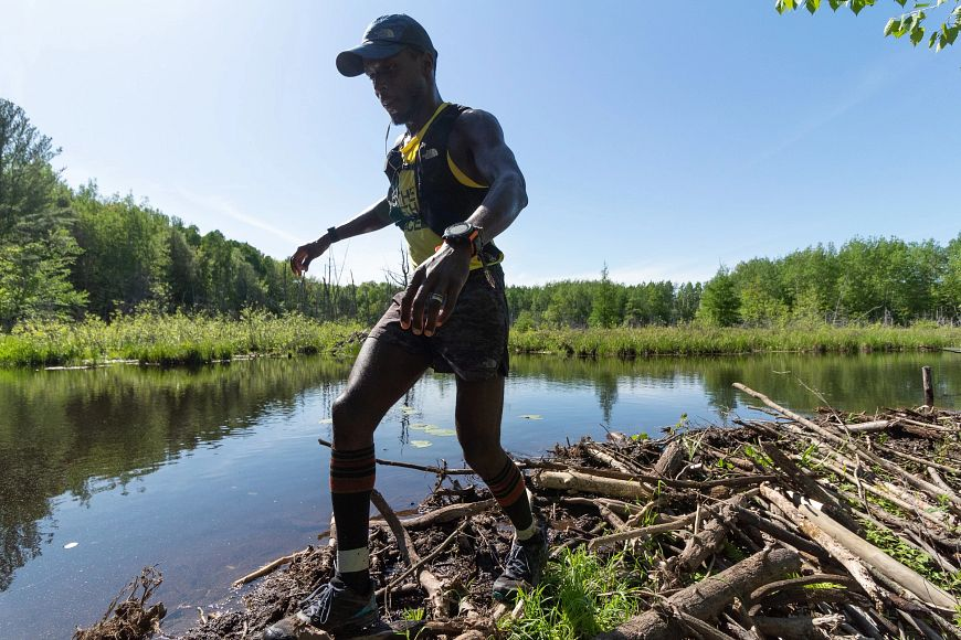 runner Coree Woltering navigates a section of Ice Age Trail