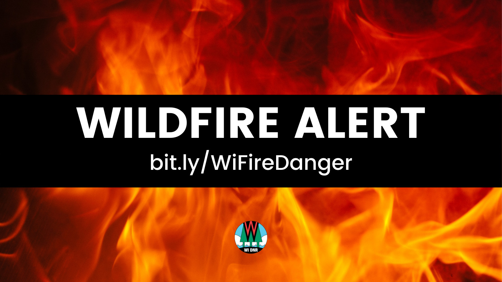Wildfire Alert DNR Graphic with flames.