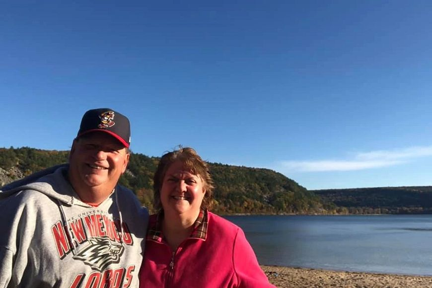 couple by lake at Devil's Lake State Park
